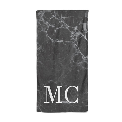 Personalised Monogram Black Marble Beach Towel