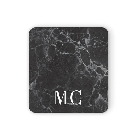 Personalised Monogram Black Marble Coasters set of 4