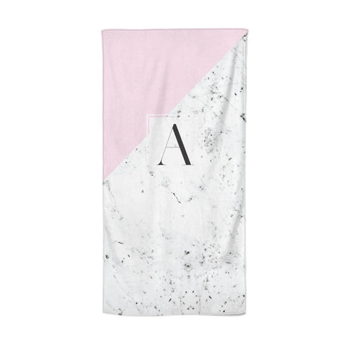Personalised Monogram Initial Letter Marble Beach Towel