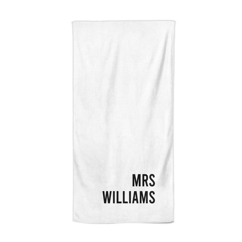 Personalised Mrs Surname Beach Towel