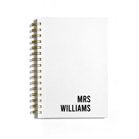 Personalised Mrs Surname Notebook