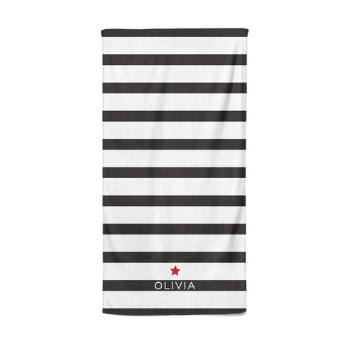 Personalised Name Black White Beach Towel