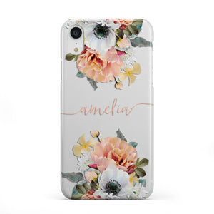 Personalised Name Clear Floral Apple iPhone Case
