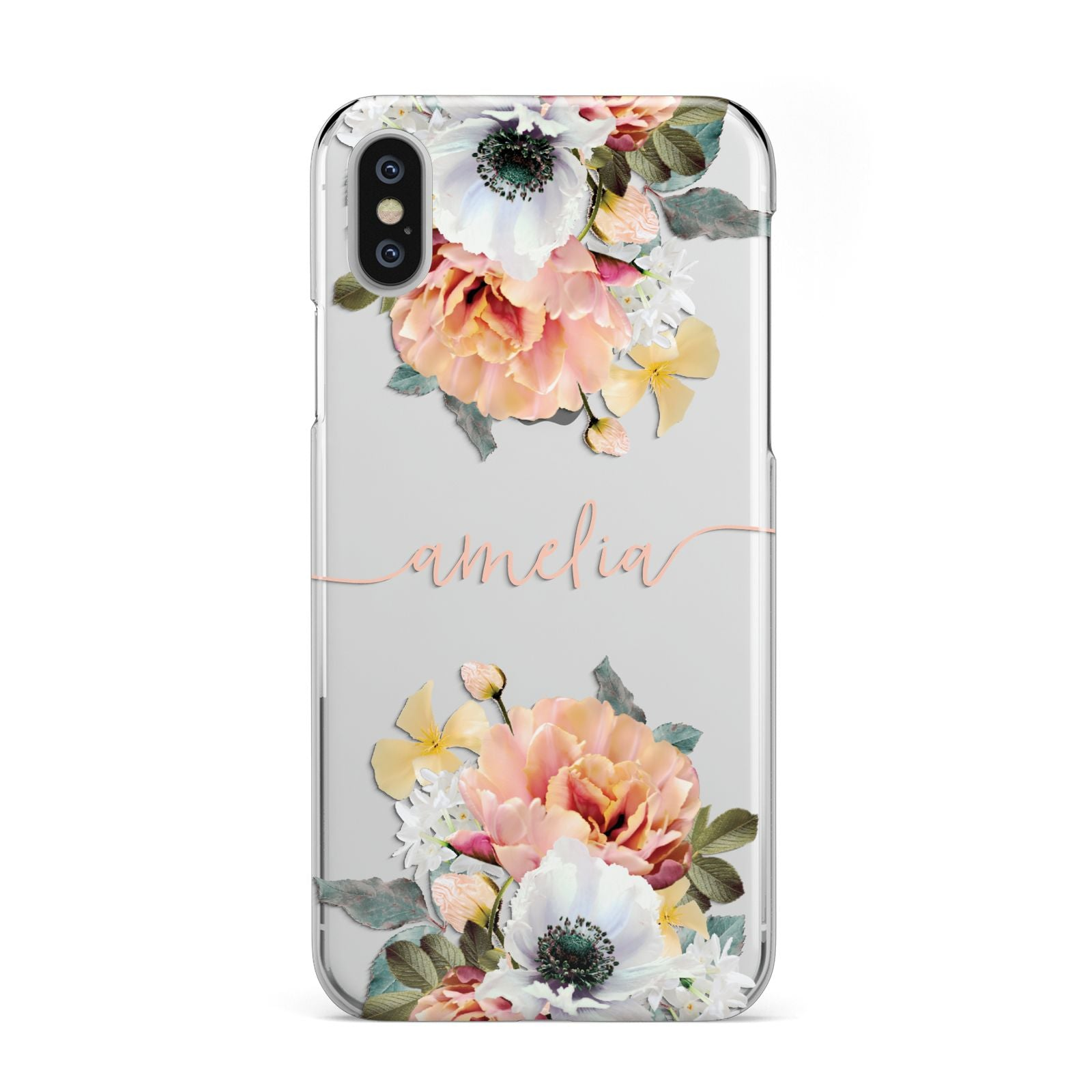 9d32e22d5f Personalised Name Clear Floral Pink Apple iPhone Case | Dyefor