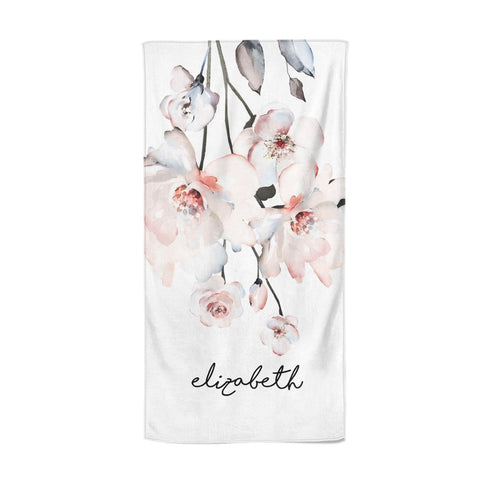 Personalised Name Roses Watercolour Beach Towel