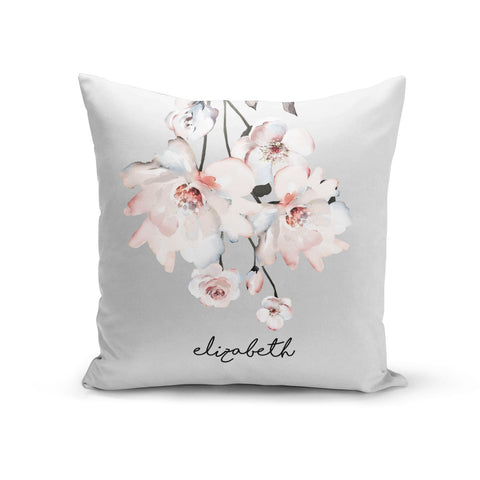 Personalised Name Roses Watercolour Cushion