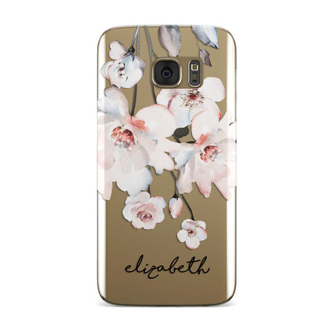 Personalised Name Roses Watercolour Samsung Galaxy Case
