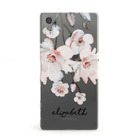 Personalised Name Roses Watercolour Sony Case
