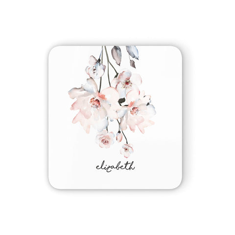 Personalised Name Roses Watercolour Coasters set of 4