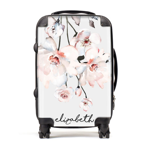 Personalised Name Roses Watercolour Suitcase