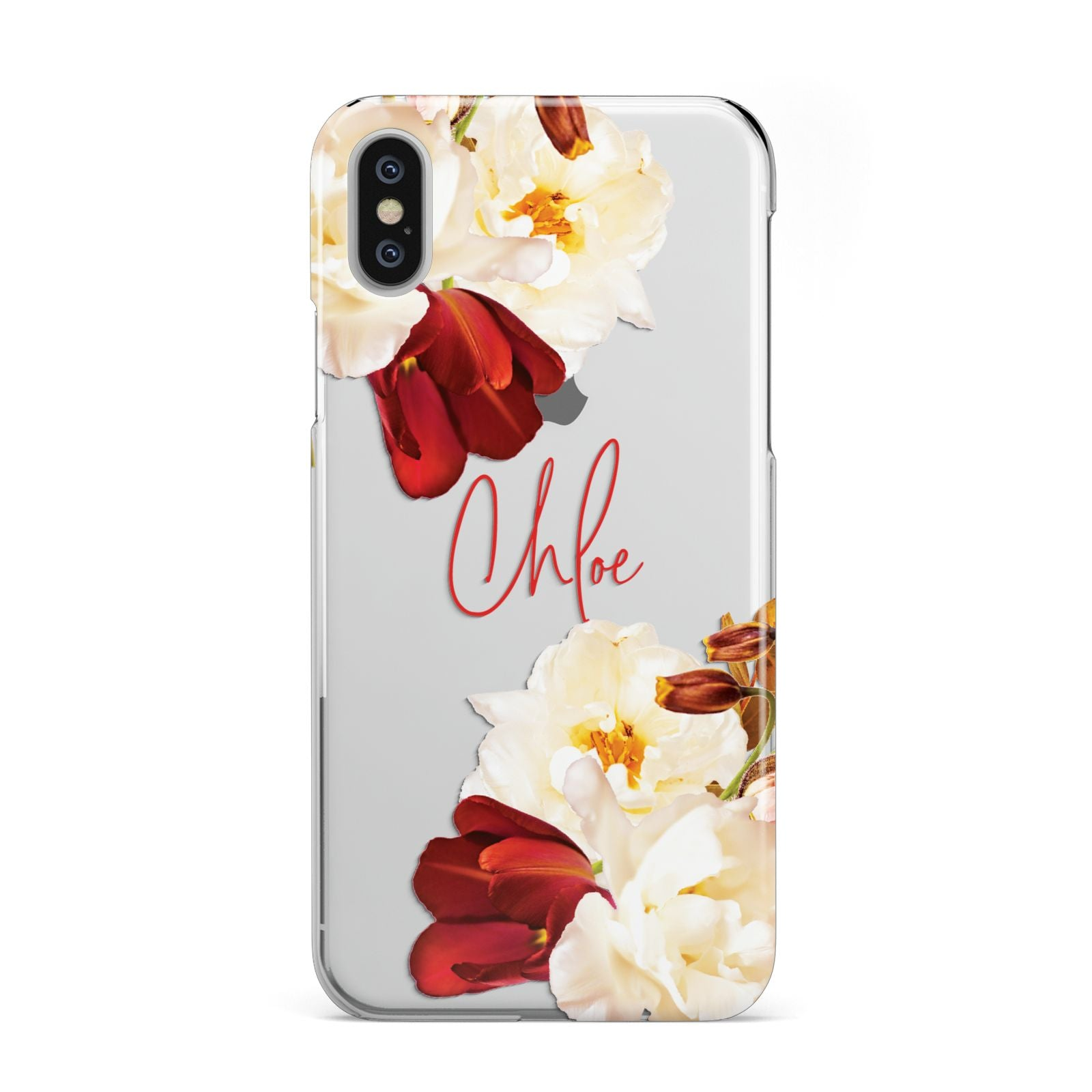 2f32282539 Personalised Name Transparent Clear Floral Apple iPhone Case | Dyefor