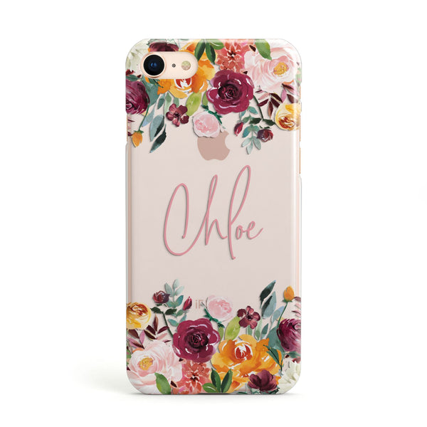 679646f9a2 Personalised Name Transparent Flowers Apple iPhone Case
