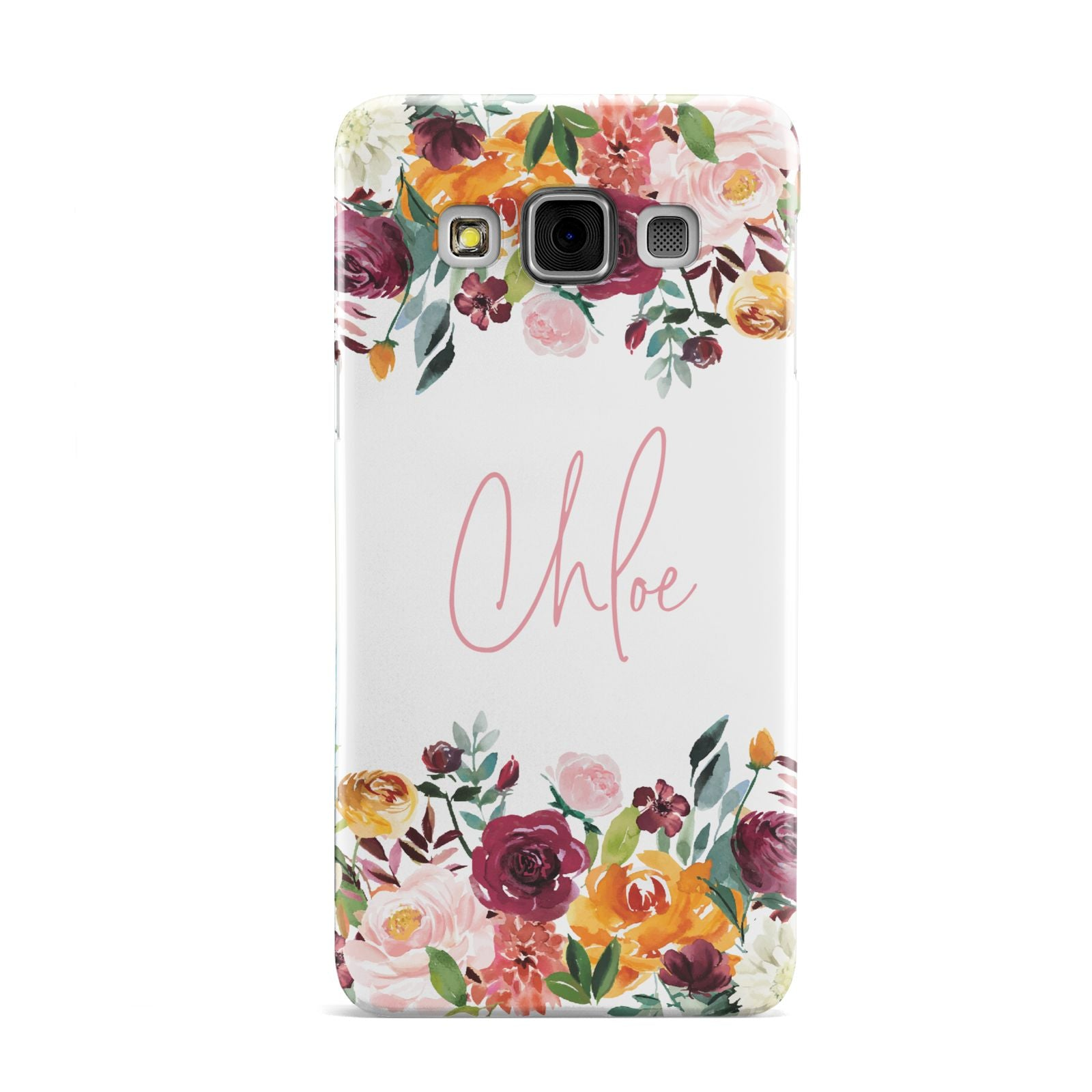 Personalised Name Transparent Flowers Samsung Galaxy A3 Case