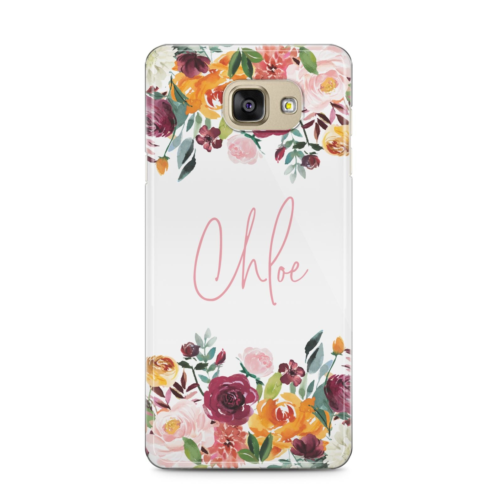 Personalised Name Transparent Flowers Samsung Galaxy A5 2016 Case on gold phone