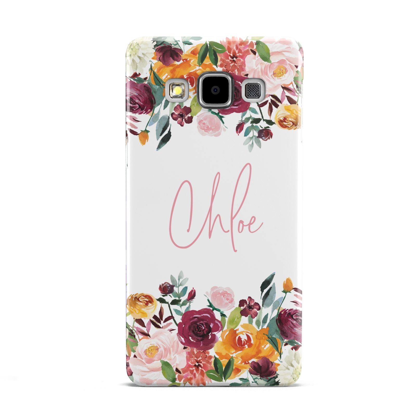 Personalised Name Transparent Flowers Samsung Galaxy A5 Case