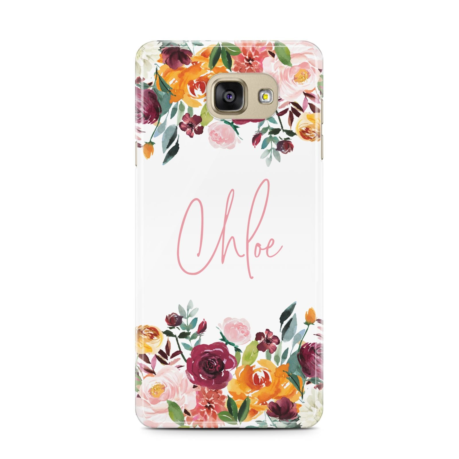 Personalised Name Transparent Flowers Samsung Galaxy A7 2016 Case on gold phone