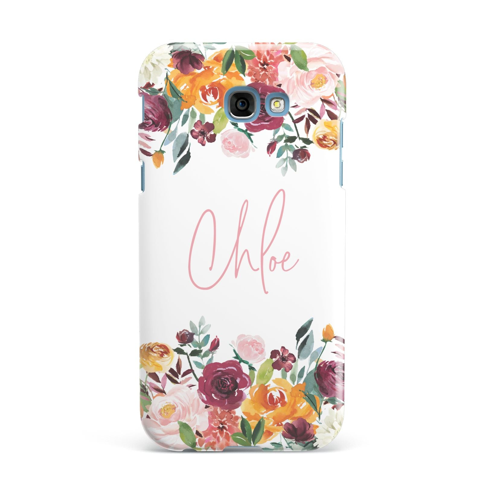Personalised Name Transparent Flowers Samsung Galaxy A7 2017 Case