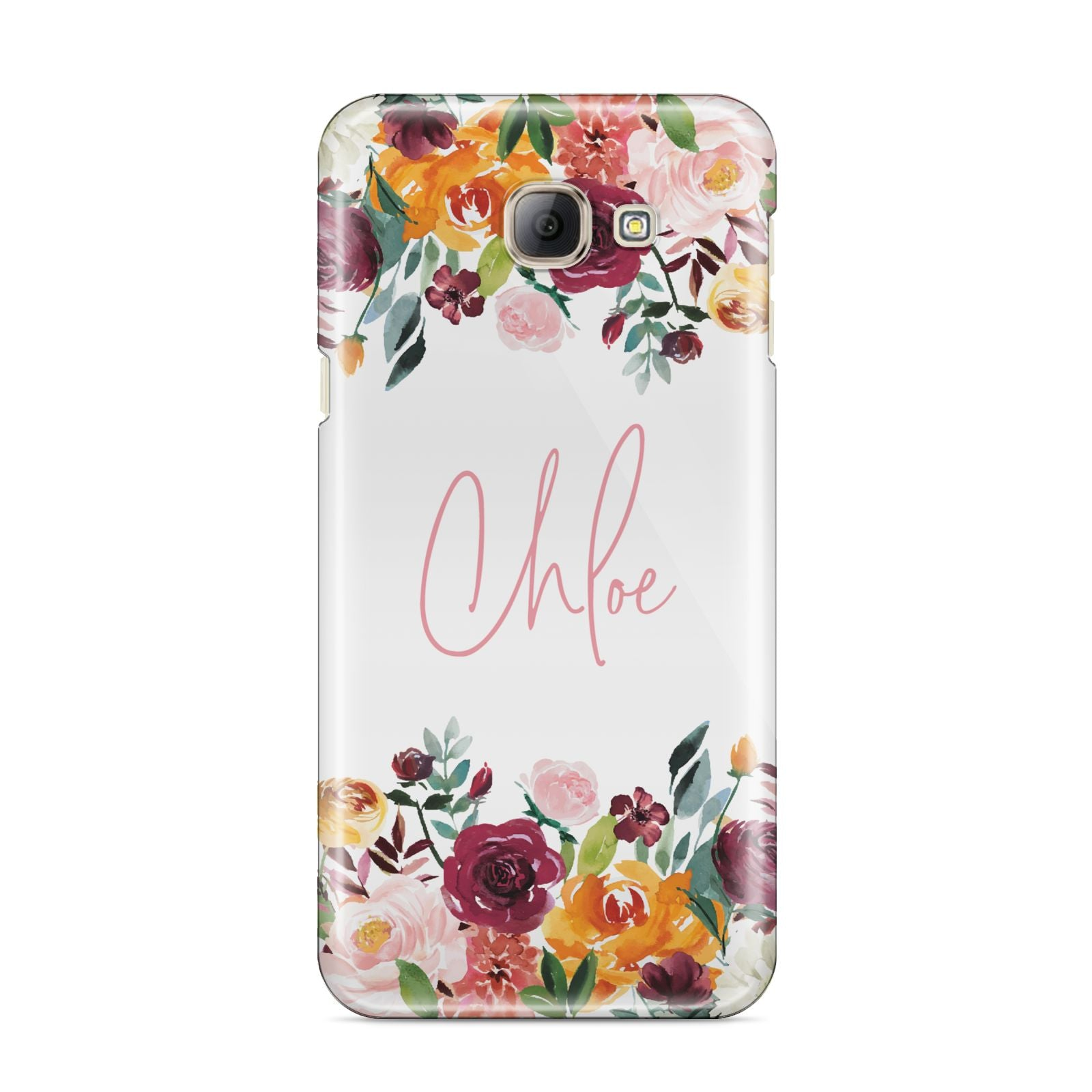 Personalised Name Transparent Flowers Samsung Galaxy A8 2016 Case