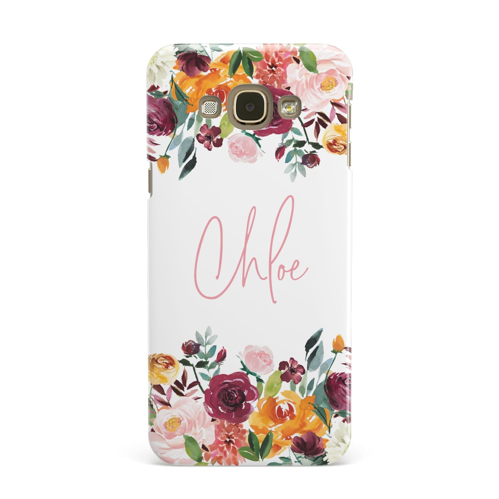 Personalised Name Transparent Flowers Samsung Galaxy A8 Case