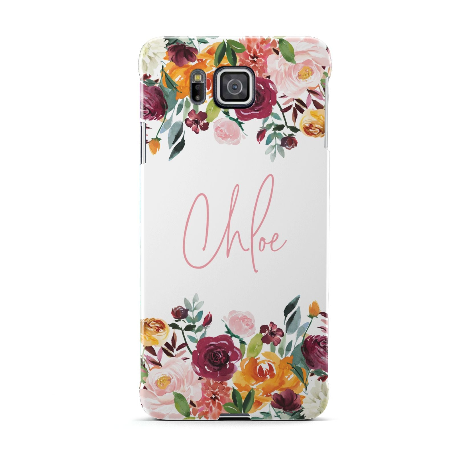 Personalised Name Transparent Flowers Samsung Galaxy Alpha Case