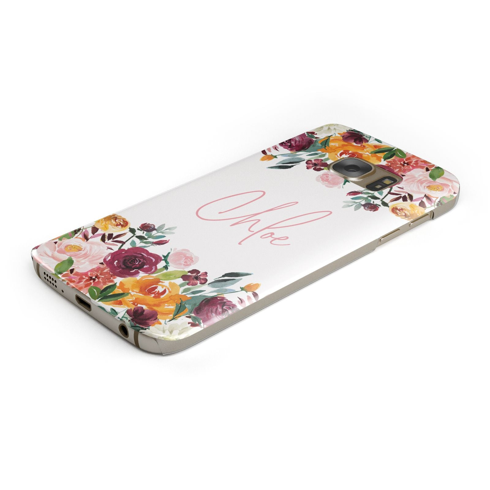 Personalised Name Transparent Flowers Samsung Galaxy Case Bottom Cutout