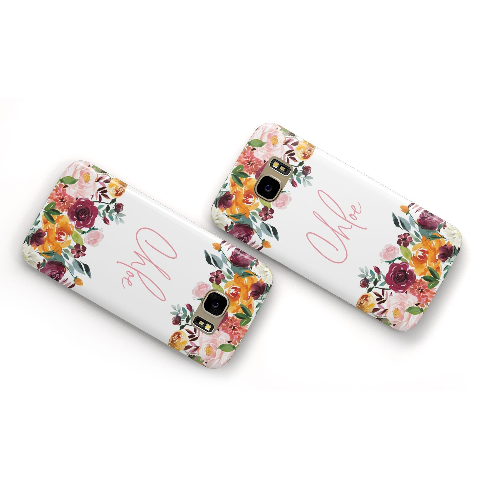 Personalised Name Transparent Flowers Samsung Galaxy Case Flat Overview