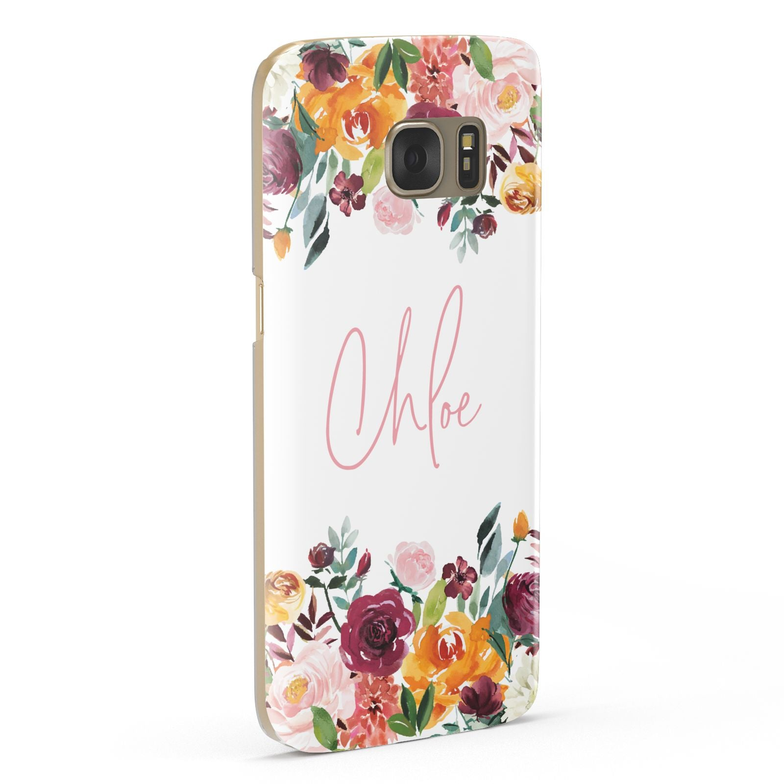 Personalised Name Transparent Flowers Samsung Galaxy Case Fourty Five Degrees