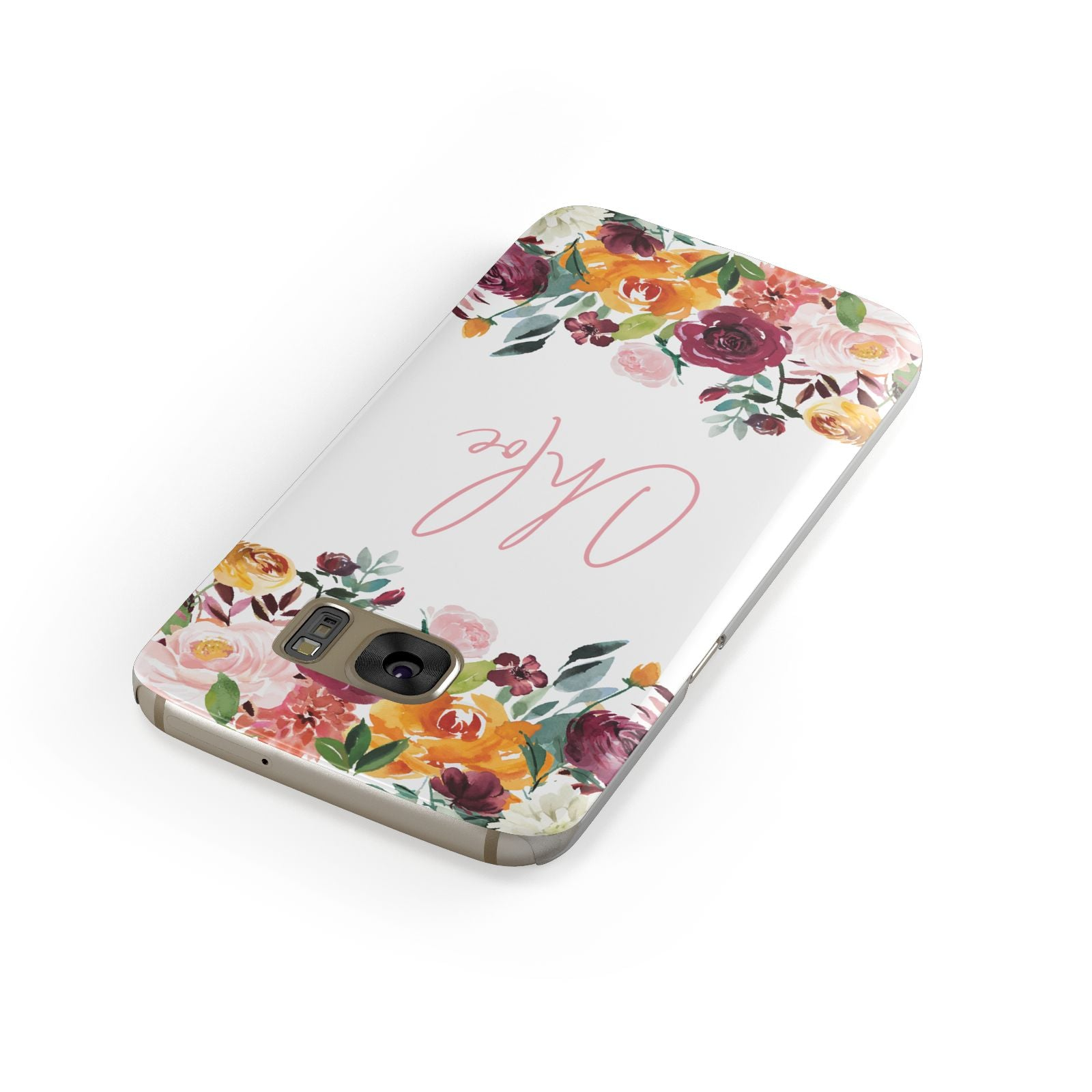 Personalised Name Transparent Flowers Samsung Galaxy Case Front Close Up