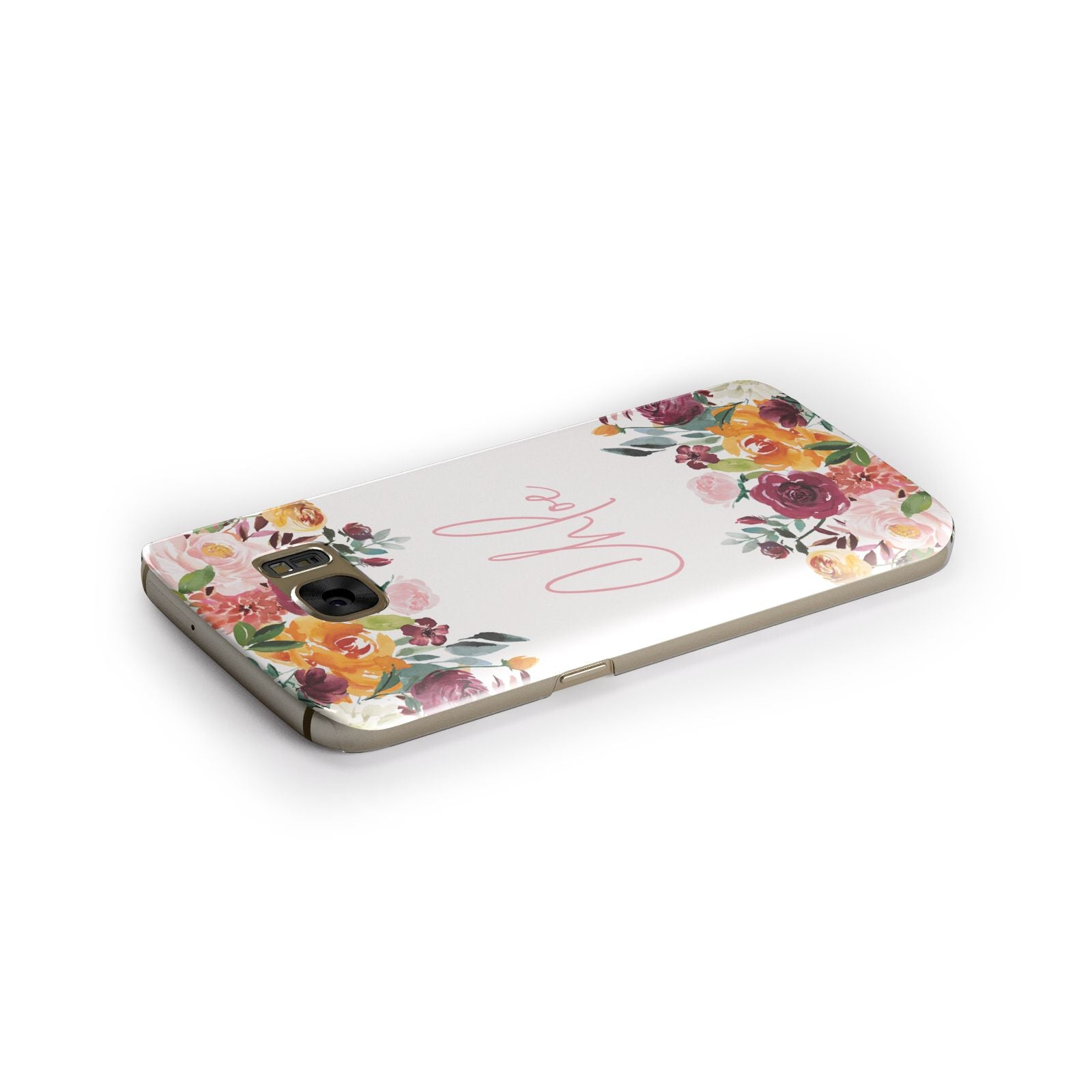 Personalised Name Transparent Flowers Samsung Galaxy Case Side Close Up