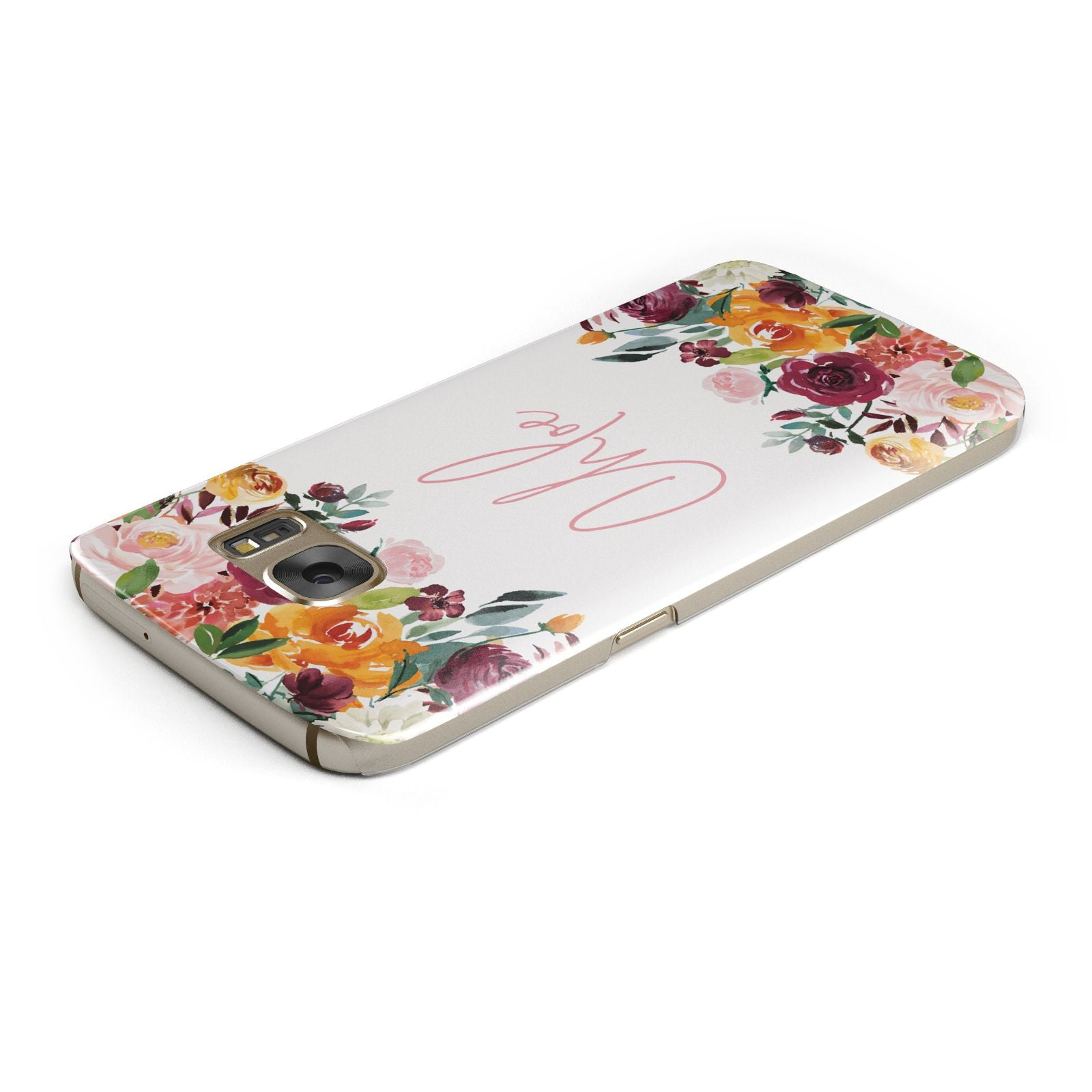 Personalised Name Transparent Flowers Samsung Galaxy Case Top Cutout