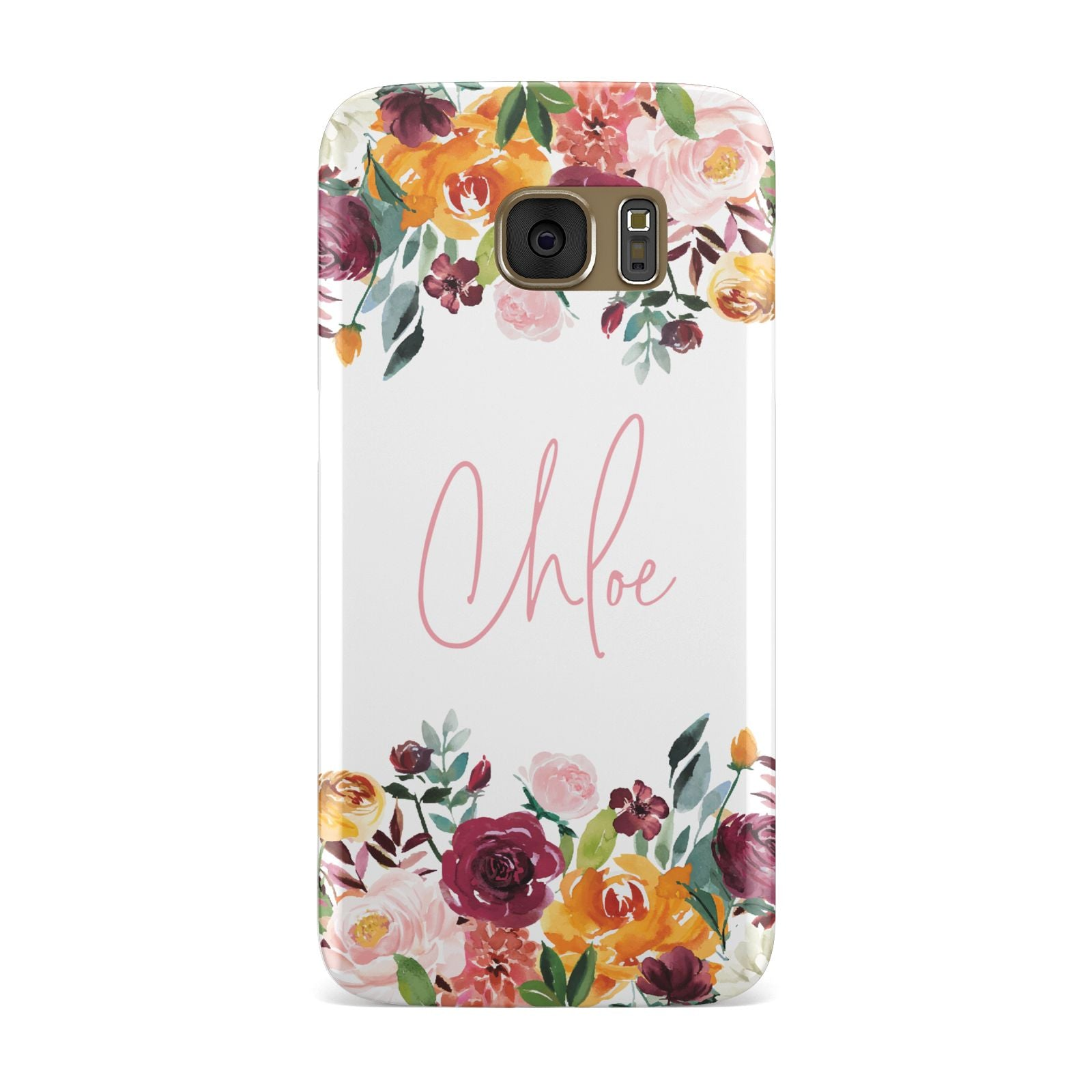 Personalised Name Transparent Flowers Samsung Galaxy Case
