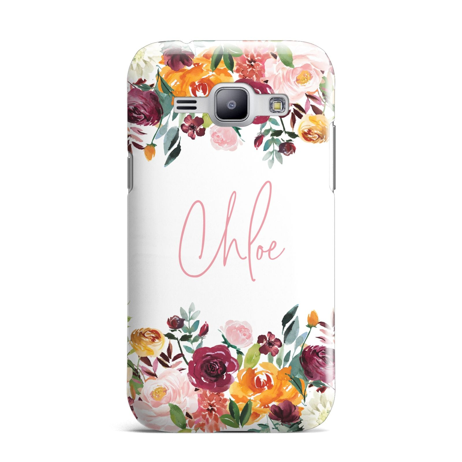Personalised Name Transparent Flowers Samsung Galaxy J1 2015 Case