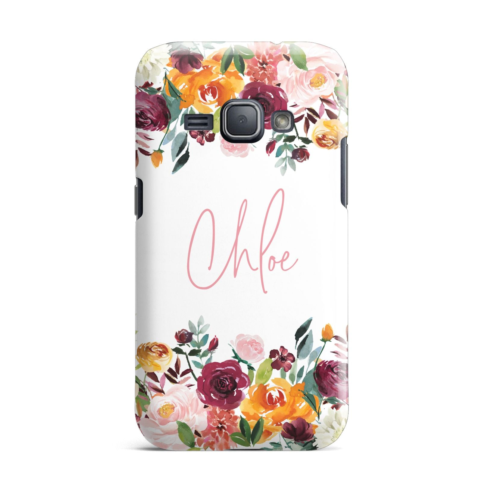 Personalised Name Transparent Flowers Samsung Galaxy J1 2016 Case