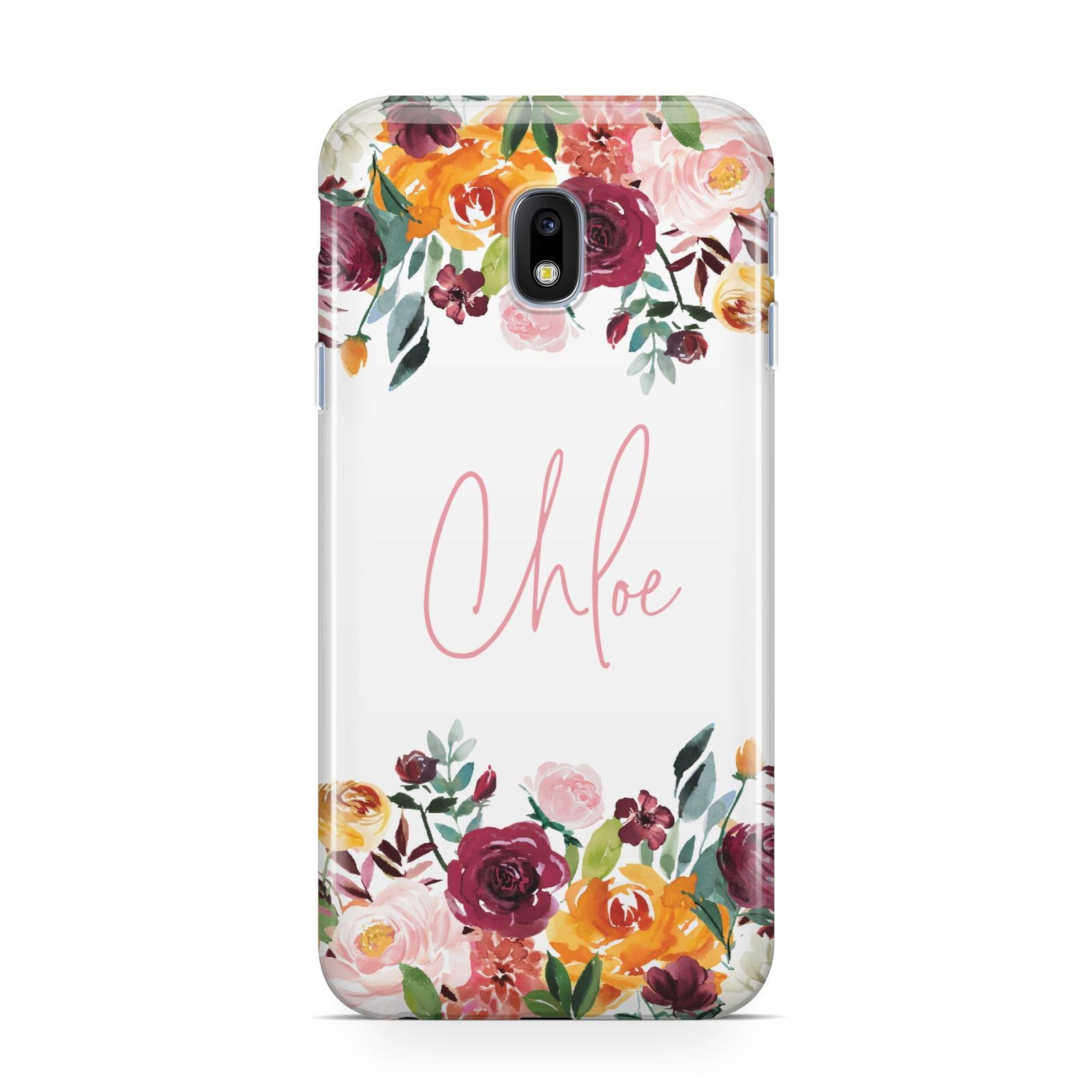 Personalised Name Transparent Flowers Samsung Galaxy J3 2017 Case