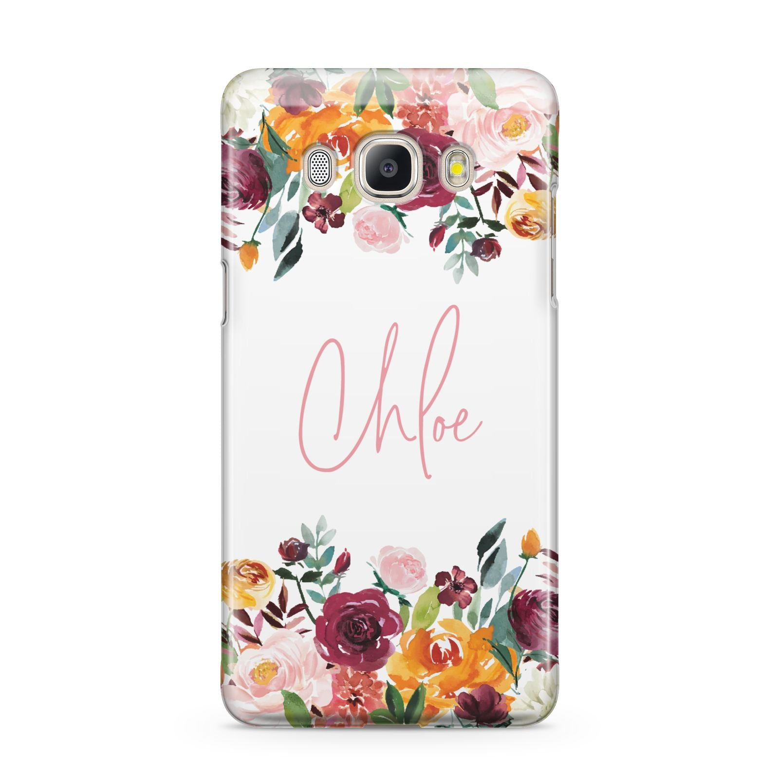 Personalised Name Transparent Flowers Samsung Galaxy J5 2016 Case