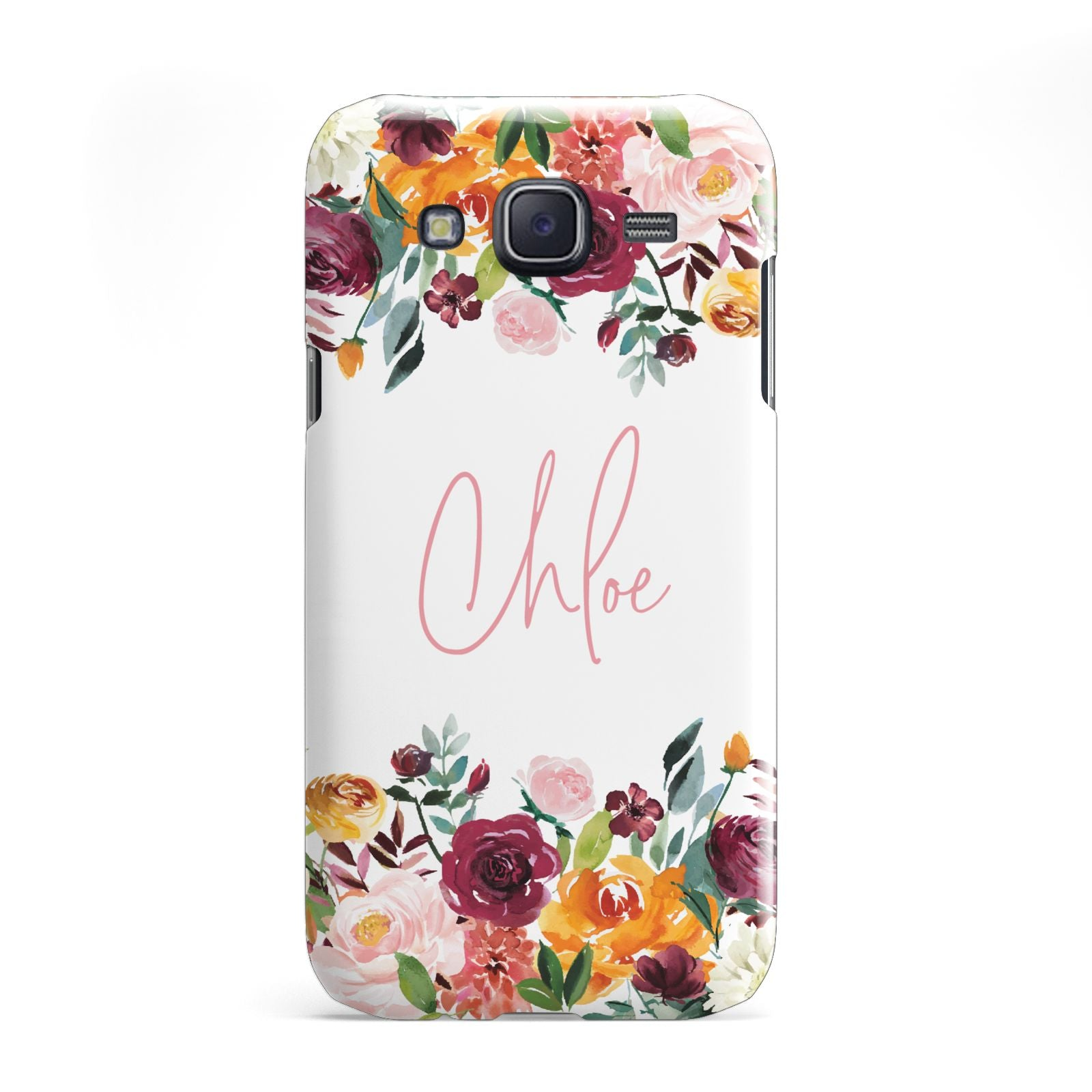 Personalised Name Transparent Flowers Samsung Galaxy J5 Case