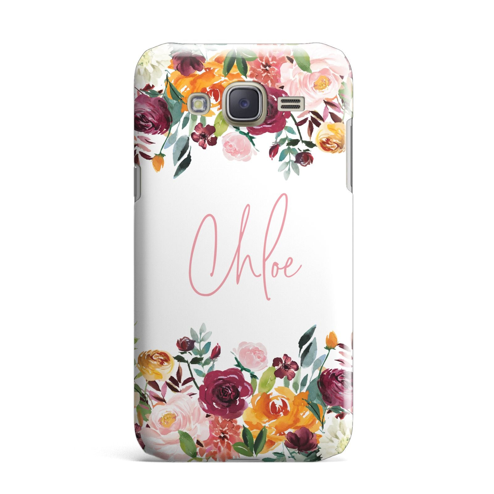 Personalised Name Transparent Flowers Samsung Galaxy J7 Case