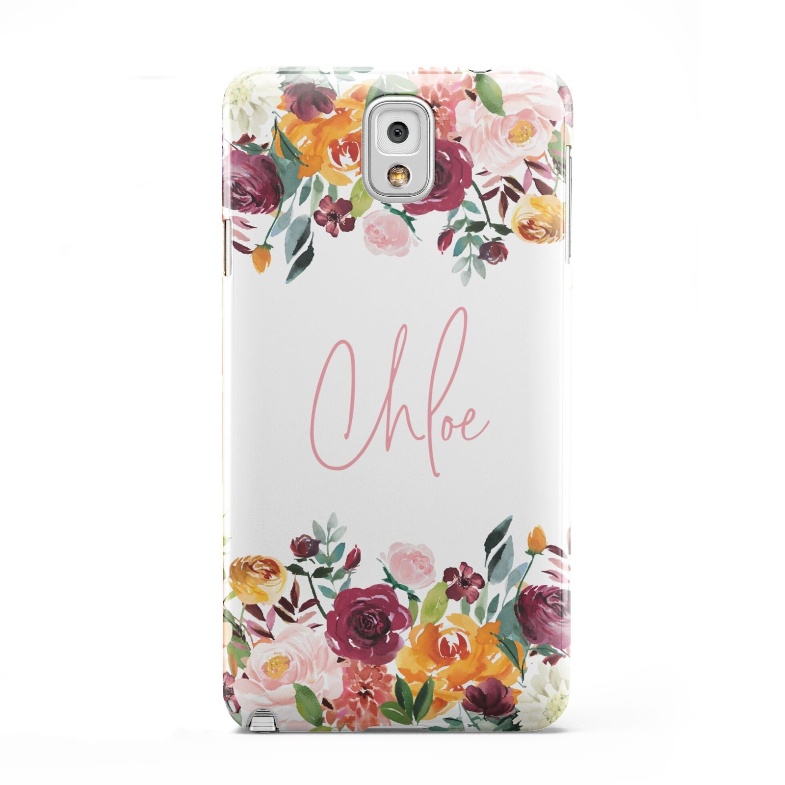 Personalised Name Transparent Flowers Samsung Galaxy Note 3 Case
