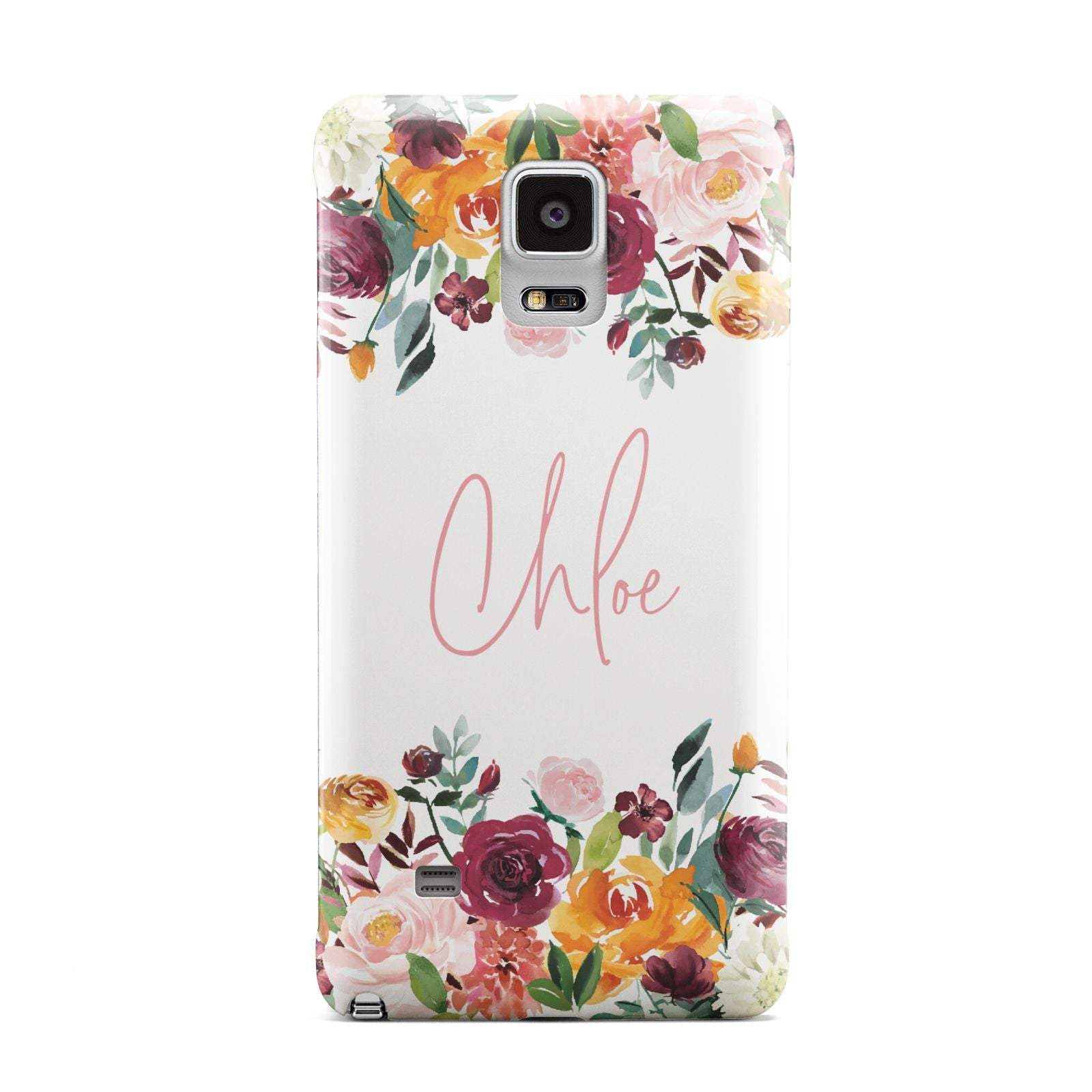 Personalised Name Transparent Flowers Samsung Galaxy Note 4 Case
