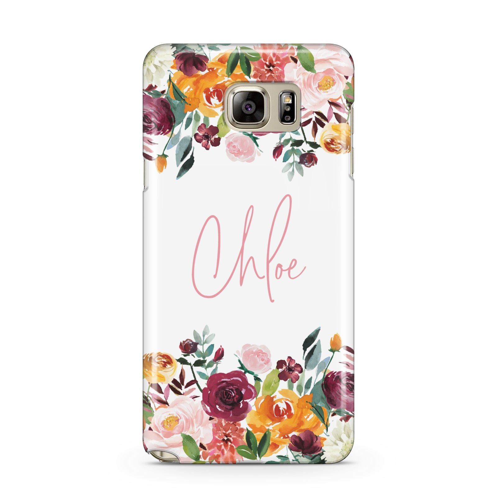 Personalised Name Transparent Flowers Samsung Galaxy Note 5 Case