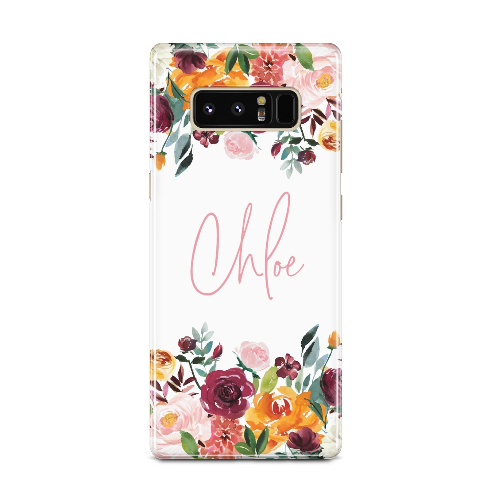 Personalised Name Transparent Flowers Samsung Galaxy Note 8 Case