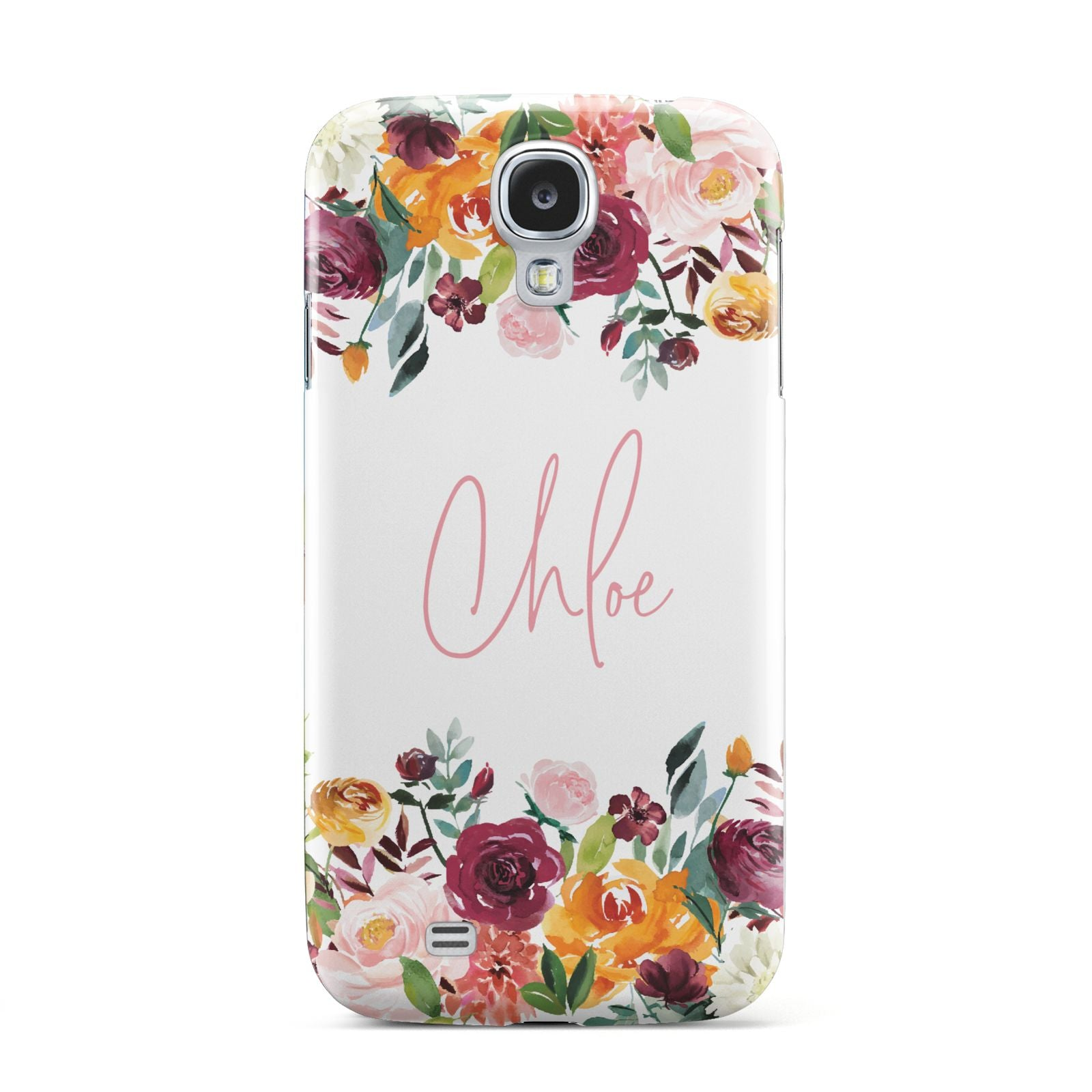 Personalised Name Transparent Flowers Samsung Galaxy S4 Case