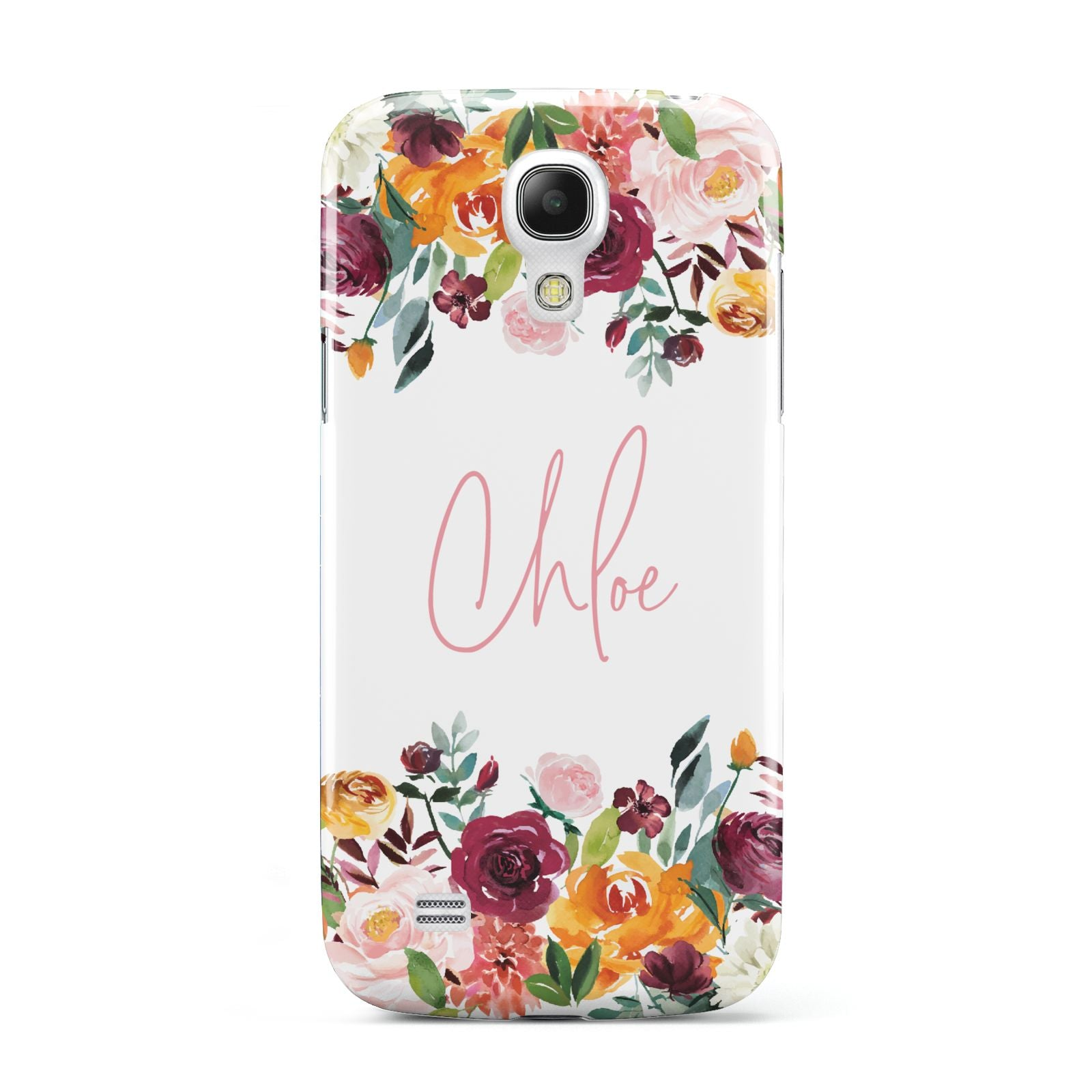 Personalised Name Transparent Flowers Samsung Galaxy S4 Mini Case