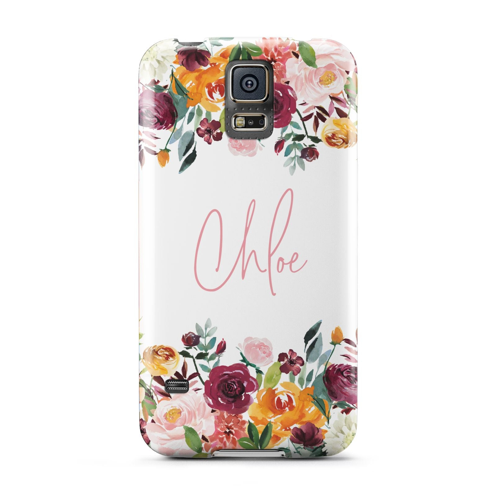 Personalised Name Transparent Flowers Samsung Galaxy S5 Case