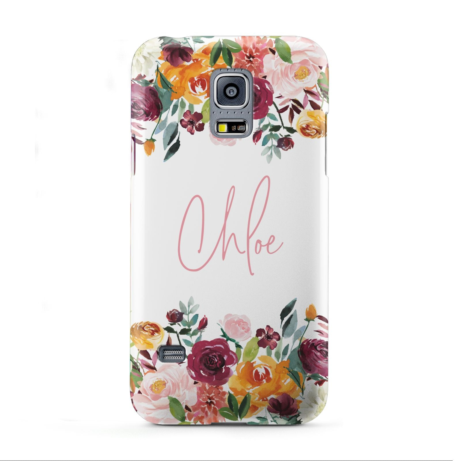 Personalised Name Transparent Flowers Samsung Galaxy S5 Mini Case