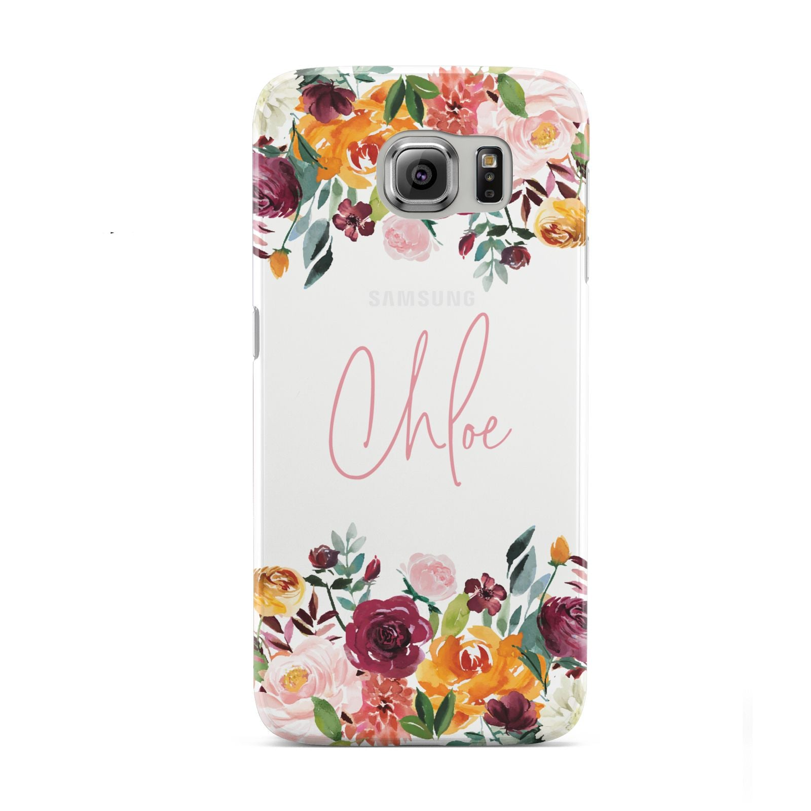 Personalised Name Transparent Flowers Samsung Galaxy S6 Case