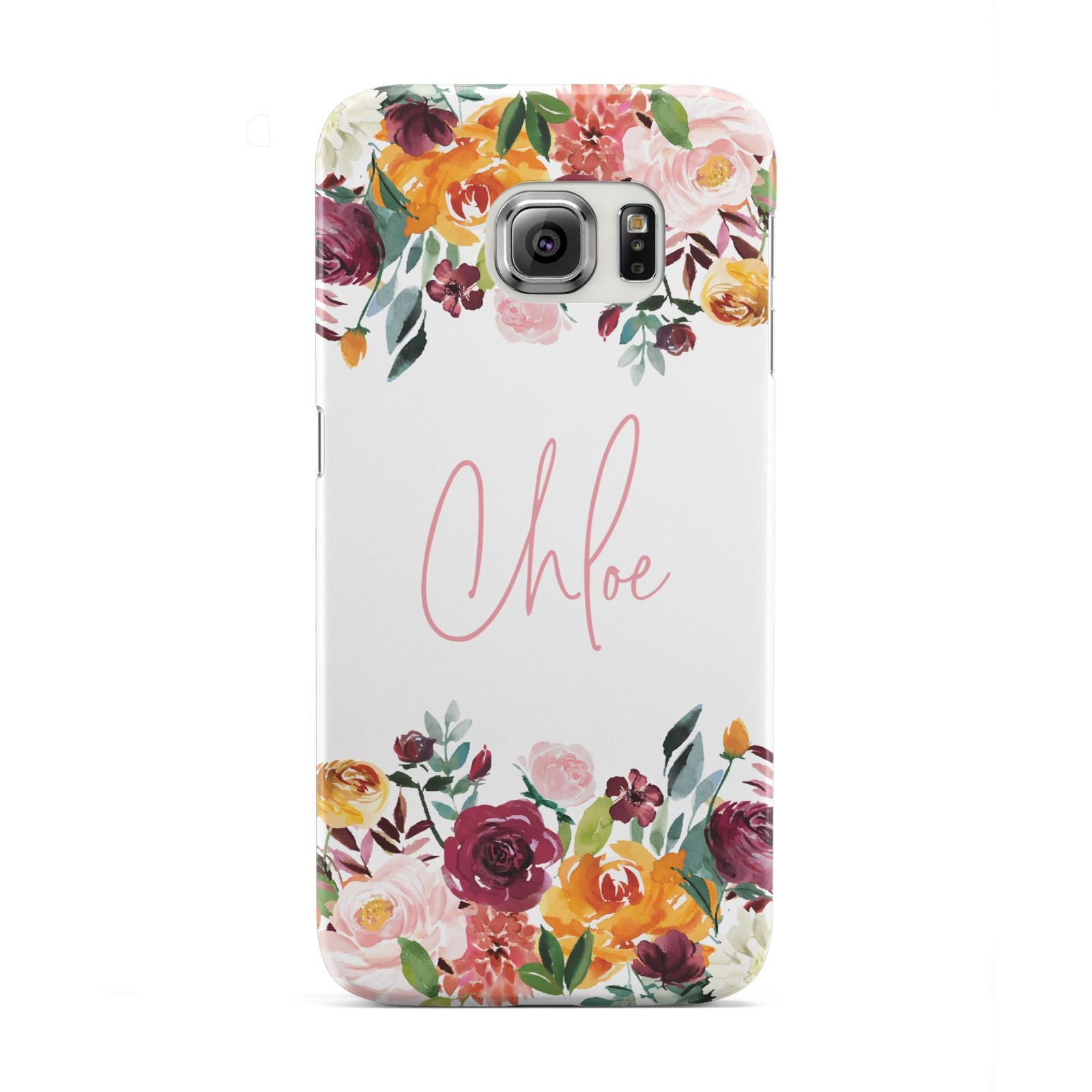 Personalised Name Transparent Flowers Samsung Galaxy S6 Edge Case