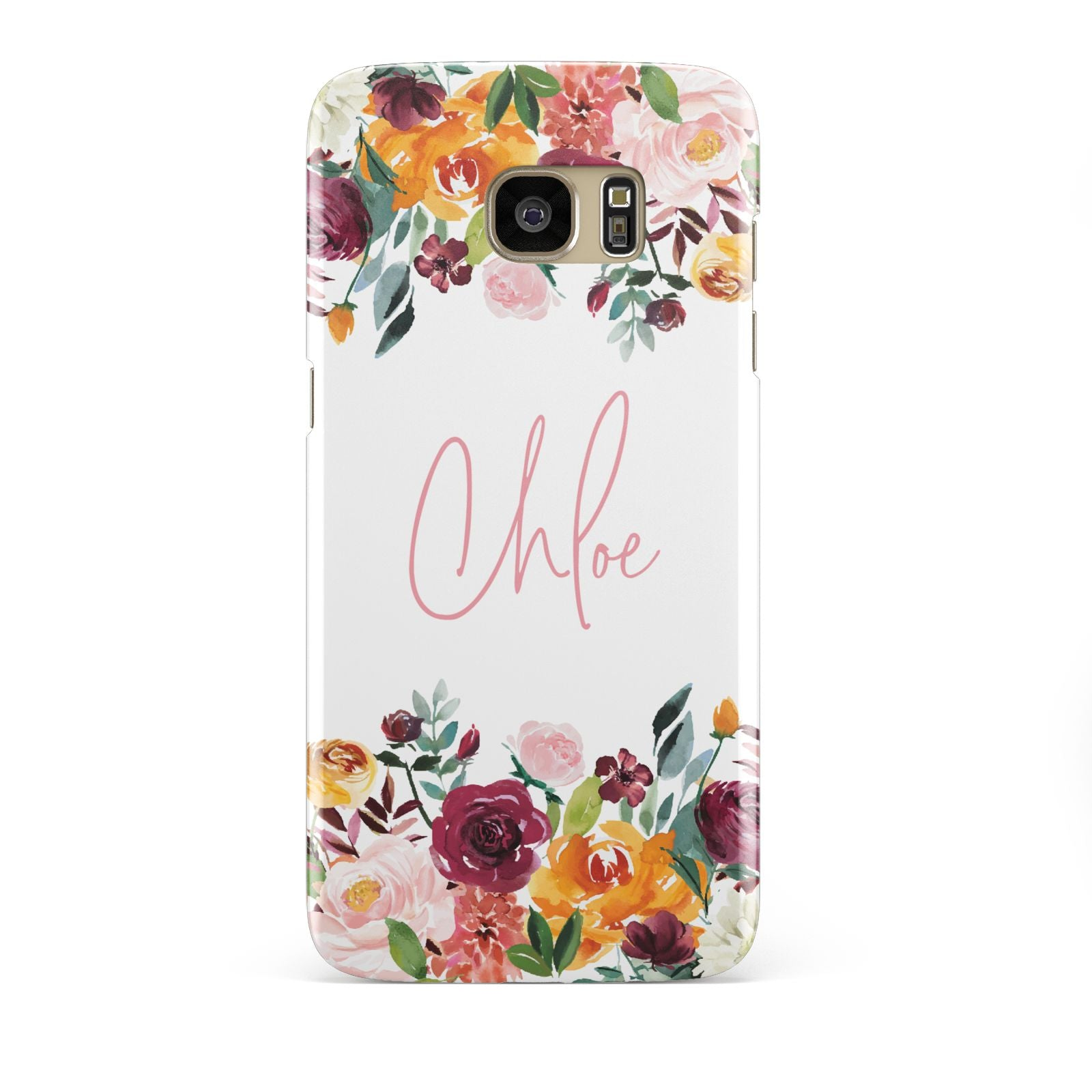 Personalised Name Transparent Flowers Samsung Galaxy S7 Edge Case