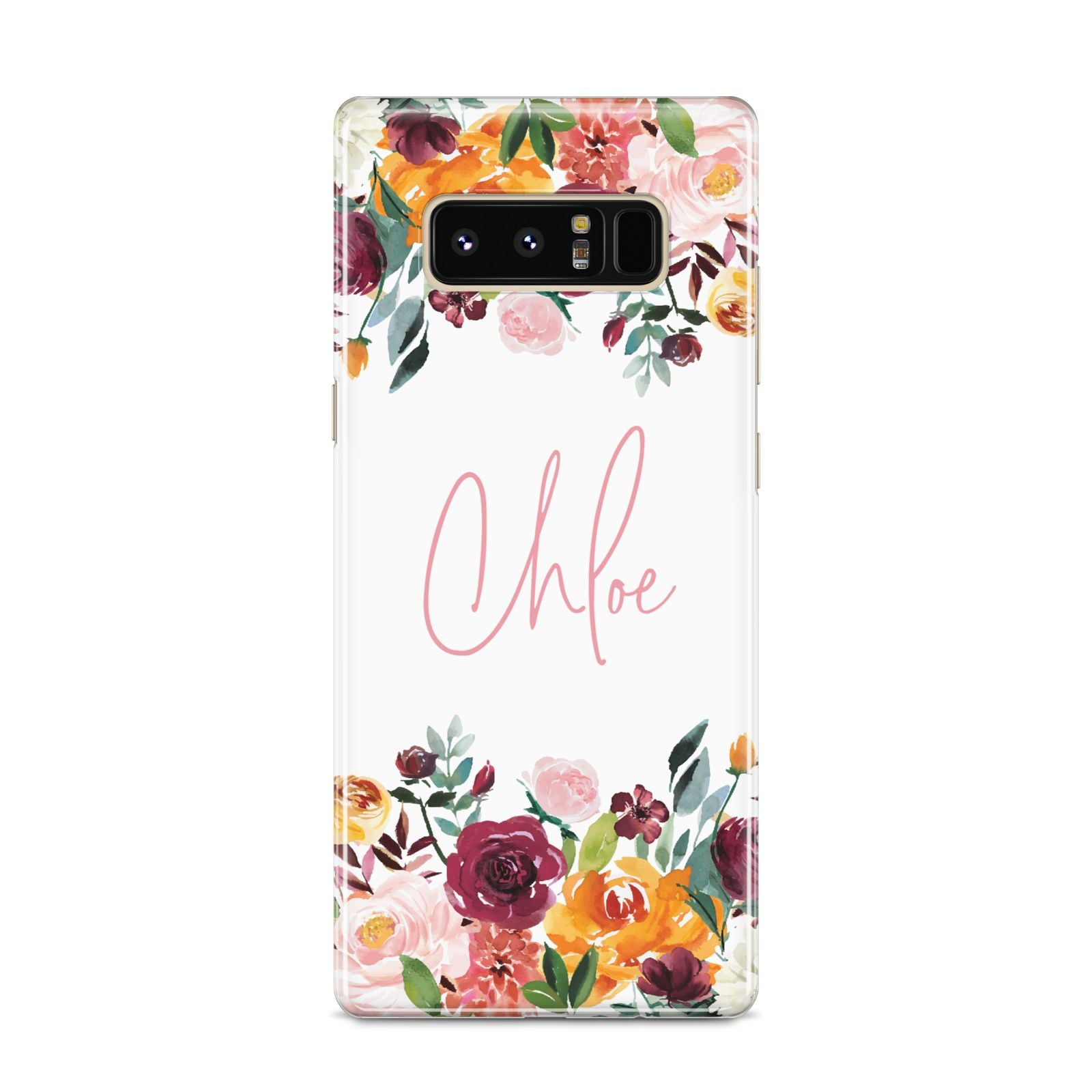 Personalised Name Transparent Flowers Samsung Galaxy S8 Case