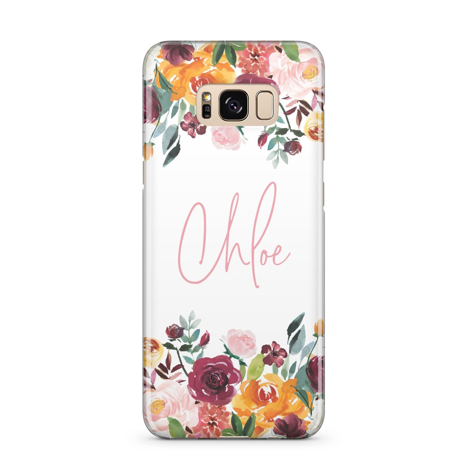 Personalised Name Transparent Flowers Samsung Galaxy S8 Plus Case